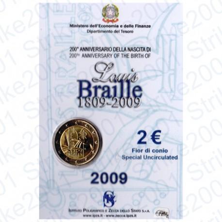 Italia - 2€ Comm. 2009 in Folder Louis Braille FDC