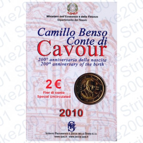 Italia - 2€ Comm. 2010 in Folder Cavour FDC