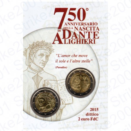 Italia - 2€ Comm. 2015 in Folder Dante Alighieri FDC