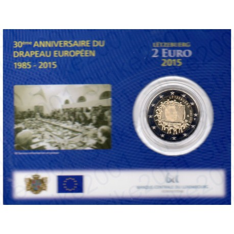 Lussemburgo - 2€ Comm. 2015 in folder FDC Bandiera Europea