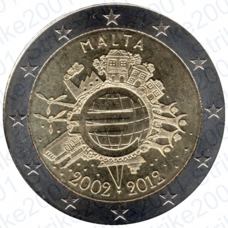 Malta - 2€ Comm. 2012 FDC 10° Anniversario Euro