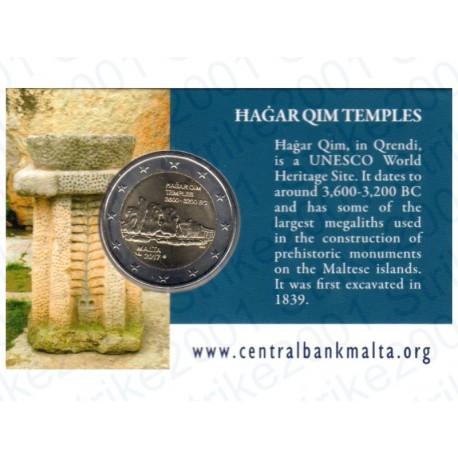 Malta - 2€ Comm. 2017 Templi Hagar Qim Zecca Francia in Folder