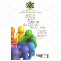 San Marino - 2€ Comm. 2008 FDC Dialogo Interculturale in Folder