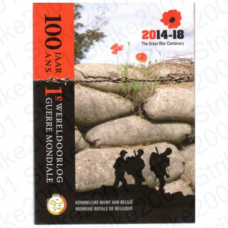 Belgio - 2€ Comm. 2014 in Folder Prima Guerra Mondiale FDC