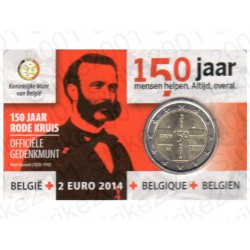 Belgio - 2€ Comm. 2014 in Folder Croce Rossa FDC