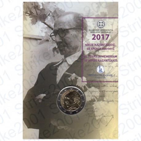 Grecia - 2€ Comm. 2017 FDC Kazantzakis in Folder