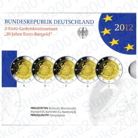 Germania - 2€ Comm. 2012 5 Zecche 10° Anniversario FOLDER FS