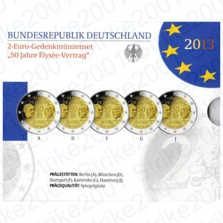 Germania - 2€ Comm. 2013 5 Zecche Trattato Eliseo FOLDER FS