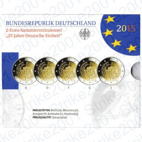 Germania - 2€ Comm. 2015 5 Zecche Riunificazione FOLDER FS