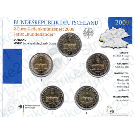 Germania - 2€ Comm. 5 Zecche 2009 FOLDER FDC