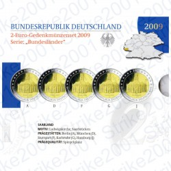 Germania - 2€ Comm. 5 Zecche 2009 FOLDER FS Saarland