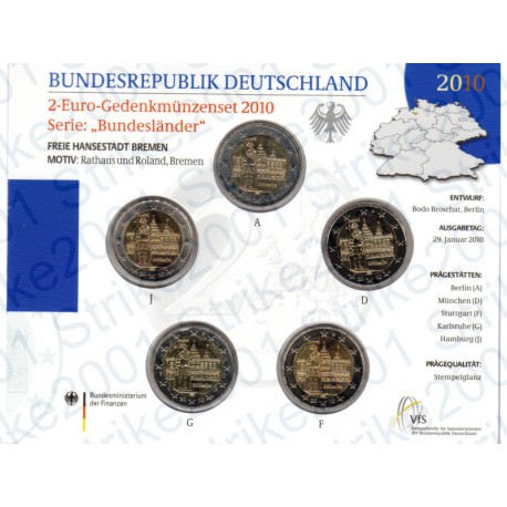 Germania - 2€ Comm. 5 Zecche 2010 FOLDER FDC