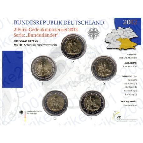 Germania - 2€ Comm. 5 Zecche 2012 FOLDER FDC Castello Neuschwanstein