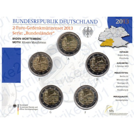 Germania - 2€ Comm. 5 Zecche 2013 FOLDER FDC Monastero Maulbronn