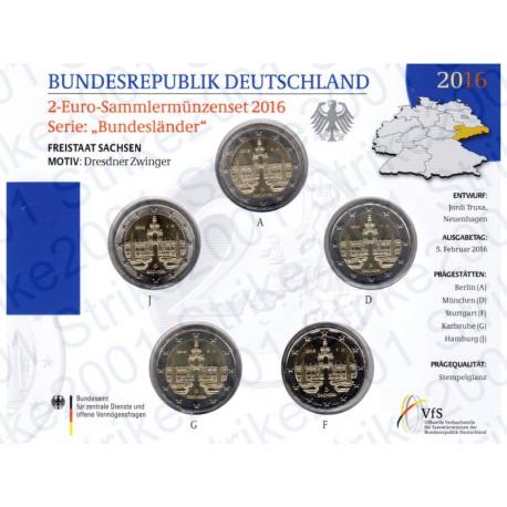 Germania - 2€ Comm. 5 Zecche 2016 FOLDER FDC Zwinger - Dresda