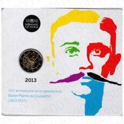 Francia - 2€ Comm. 2013 FDC Pierre De Coubertin in Folder