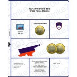 Kit Foglio 3 Euro Comm. Bimetallico Slovenia 2016