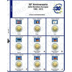 Kit Foglio 2 Euro Comm. 2015 30° Bandiera Europea