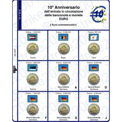 Kit Foglio 2 Euro Comm. 2012 10° Anniversario Euro