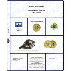 Kit Foglio 5 Euro Comm. Bimetallico San Marino 2017 Simoncelli