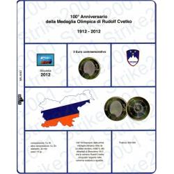 Kit Foglio 3 Euro Comm. Bimetallico Slovenia 2012