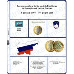 Kit Foglio 3 Euro Comm. Bimetallico Slovenia 2008