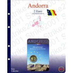 Kit Foglio Andorra 2 Euro Comm. 2014 in folder Consiglio Europa