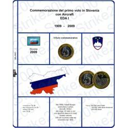 Kit Foglio 3 Euro Comm. Bimetallico Slovenia 2009
