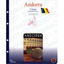 Kit Foglio Andorra 2 Euro Comm. 2016 in folder Radiotelevisione