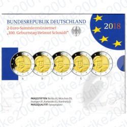 Germania - 2€ Comm. 5 Zecche 2018 FOLDER FS Helmut Schmidt
