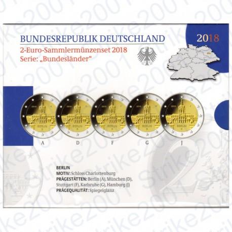 Germania - 2€ Comm. 5 Zecche 2018 FOLDER FS Castello Charlottenburg