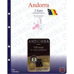 Kit Foglio Andorra 2 Euro Comm. 2017 in folder Inno Nazionale