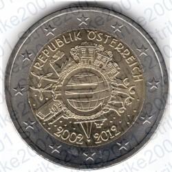 Austria - 2€ Comm. 2012 FDC 10° Anniversario Euro