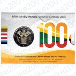 Lituania - 2€ Comm. 2018 FDC Stati Baltici Indipendenti in Folder