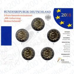 Germania - 2€ Comm. 5 Zecche 2018 FOLDER FDC Helmut Schmidt