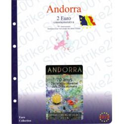 Kit Foglio Andorra 2 Euro Comm. 2018 in folder Diritti Umani