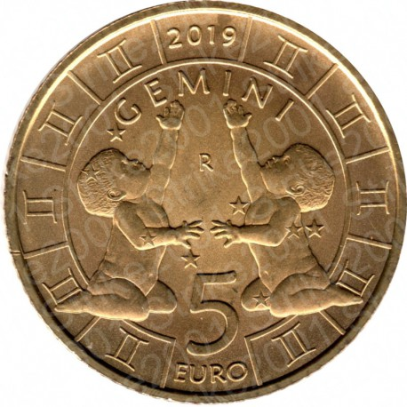 San Marino - 5€ 2019 FDC Zodiaco Gemelli - Gemini