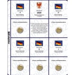 Kit Foglio 2€ Comm. 2020 Germania Potsdam 5 Zecche