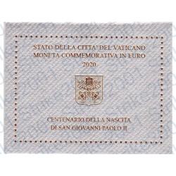 Vaticano - 2€ Comm. 2020 FDC 100° Giovanni Paolo II in Folder