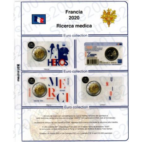 Kit Foglio Francia 2 Euro Comm. 2020 in folder Ricerca Medica